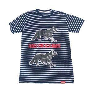 GDUP CLOTHING WOLF STRIPED T SHIRT